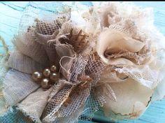 Set of 2 Handmade Fabric Flowers, Burlap, Linen, Lace, Rustic, Hair Accessory, Vintage Wedding Decorations, Headband Flowers, Appliqués