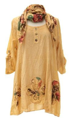 Buy Ladies Womens Lagenlook Quirky Layering Floral Print Scarf Tunic Top Shirt Cotton One Size Plus Loose in Cheap Price on m.alibaba.com Long Dress Design, Indian Designer Outfits, Funky Fashion, Cotton Tunics, Trendy Tops, Comfortable Fashion, Get Dressed, Fashion Dresses, Floral Prints