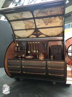 Spectacular copper-clad teardrop trailer takes steampunk to another level - Schäferwagen - Kombi Trailer, Diy Camper Trailer, Tiny Camper, Camper Van, Teardrop Camper Interior, Airstream Interior, Vintage Airstream, Rv Campers, Vintage Campers