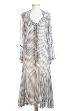 Black and white dotted silk chiffon dress with matching jacket, 1920s. Charleston Museum
