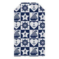 #cute - #Nautical navy blue white checkered gift tags
