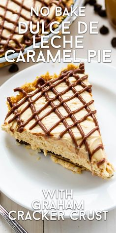 No Bake Dulce de Leche Pie (Caramel Pie) – Crazy for Crust This No Bake Dulce De Leche Pie is the perfect summer recipe because it's completely no-bake! It's a caramel pie with a homemade graham cracker crust and a chocolate bottom. Pudding Desserts, Pudding Pies, No Bake Desserts, Just Desserts, Health Desserts, Icebox Desserts, Homemade Graham Cracker Crust, Graham Cracker Recipes, Pie Recipes