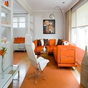 Orange couch with Brown and White decor