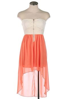 Summer Memories Lace Strapless Sweetheart High Low Dress in Coral (have this) only 25$ at Rex Fox