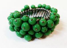 Vintage Green Cha Cha Bead Bracelet Glass Expansion Japan  #Unbranded #Expansion $28.00