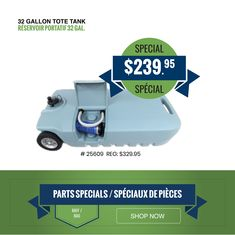 ON SALE! 32 Gallon Tote Tank Empty your RV trailer's gray and black water tanks with less hassle. The Tote-N-Stor 32-Gallon Portable Sewage Waste Tank Tote lets you empty waste at the dump station without needing to pack up your whole RV set-up. Delivery and curbside pickup available.   #supportlocalbusiness #shoplocal Roof Coating, Support Local Business, Black Water, Rv Trailers, Water Tank, Empty, Tanks, Blog, Delivery
