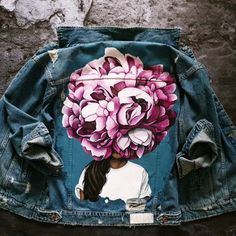 Discover recipes, home ideas, style inspiration and other ideas to try. Hand Painted Dress, Painted Clothes, Painted Denim Jacket, Painted Jeans, Custom Denim Jackets, Paint Shirts, T Shirt Painting, Denim Ideas, Diy Fashion