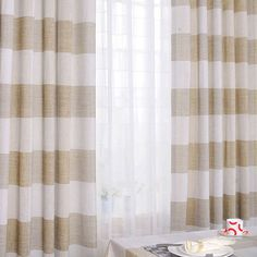 Country Linen and Cotton Blended Striped Curtains (Two Panels)