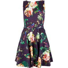 Closet Winter Floral Skater Dress, Multi ($82) ❤ liked on Polyvore featuring dresses, purple mini dress, maxi dress, sleeveless maxi dress, floral dress and mini dress