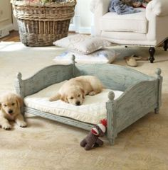 Stockholm Dog Bed - traditional - Pet Beds - Other Metro - Soft Surroundings Wood Dog Bed, Diy Dog Bed, Dog Furniture, Country Furniture, Unique Furniture, Dog Rooms, Pet Beds, Dog Houses, Diy Stuffed Animals