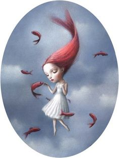 ...as her hair came to life, they took flight the fish and her....