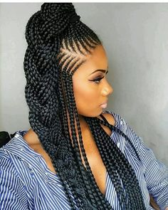 African Braids Hairstyles Pictures, Ghana Braids Hairstyles, Braided Hairstyles For Black Women, Braided Hairstyles Updo, Girl Hairstyles, Hairstyles 2018, Braided Updo, Braids Cornrows, Half Cornrows