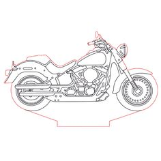 Harley Davidson bike 3d illusion lamp plan vector file for CNC - 3bee-studio