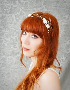 Wedding hair crown floral tiara white flower by gardensofwhimsy, $45.00