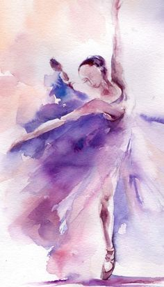 Ballerine Ballet Original de peinture aquarelle danse aquarelle Art Purple échelle : 9x11.5 (23x29cm) médium : Aquarelle de Saint-Pétersbourg « Nuits