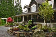 landscaping around fountains   Backyard Landscape Design - Front Entrance