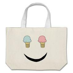 Ice Cream Happy Face Tote Bags