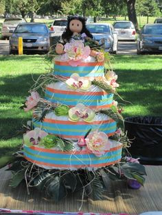 Luau Diaper Cake Baby Shower Diapers, Diaper Cakes, Luau, House Party, How To Make Cake, Cute Babies, Crafty, Babyshower, Heaven