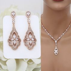 Rose Gold Bridal necklace, Crystal Bridal earrings, Rose gold earrings, Wedding jewelry set, Necklace set, CZ jewelry, Art Deco earrings