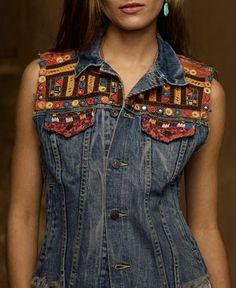 Denim & Supply Ralph Lauren Jacket, Sleeveless Embroidered Denim Vest - Jackets & Blazers - Women - Macy's