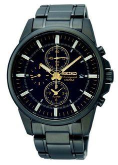 Seiko Chronograph Black Dial Mens Watch SNAF07 seiko-sportura.com