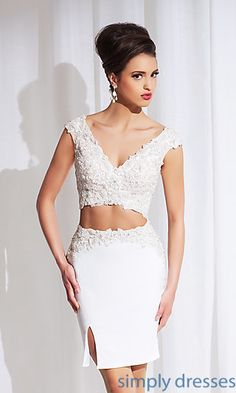 Short Two Piece V-Neck Dress by Tony Bowls at SimplyDresses.com
