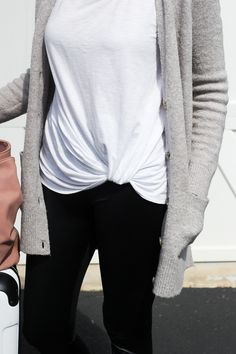 THE BEST TRAVEL OUTFIT FOR LONG FLIGHTS | I am sharing a long haul flight outfit idea, including a lightweight tee, a cozy cardigan, the best travel leggings and no fuss slip-on sneakers - casual, comfy airport, car