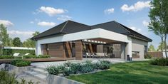 Wizualizacja CPT HomeKONCEPT-26 CE Modern Bungalow House Plans, Bungalow Haus Design, Modern Bungalow Exterior, Modern Family House, Modern House Facades, Modern House Design, Village House Design, Village Houses, Style At Home