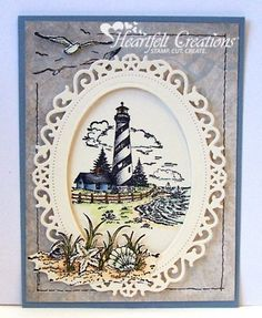 Heartfelt Creations | Lighthouse. Love how the birds and seashells are a continuation of the lighthouse stamp.