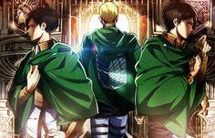 Shingeki no Kyojin » Fanart   Levi, Erwin, and Eren Wallpaper   #levi #erwin #eren