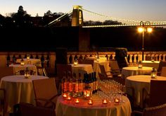 Avon Gorge Hotel, Bristol wedding venue - so atmospheric under the lights of Brunel's iconic suspension bridge in Clifton