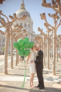 Kelly Green Balloons!! {Kate Spade Elopement~ so beautiful. <3 alongside the Amazing SF City Hall}