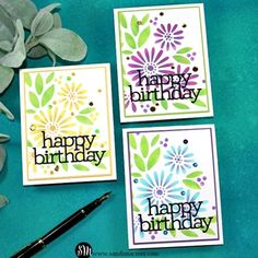 Cardmaking and papercrafting designer Sandi MacIver shares 7 new Cards for the Lucky to Know You Release from Simon Says Stamp. Daisy, Birthday Cards, Happy Birthday, Simon Says Stamp Blog, Marker Art, Card Tutorials, Ink Pads, Flower Cards, Homemade Cards