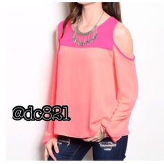 Cold Shoulder Blouse Pink on pink color block cold shoulder blouse. Made of poly/rayon blend. Size small and medium Tops Blouses