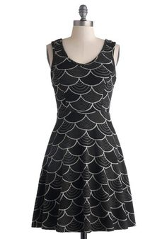 Pattern Peeks Dress - Mid-length, Black, Grey, White, Print, Casual, A-line, Tank top (2 thick straps), Scoop #modcloth