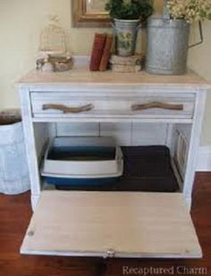 Hide the litter box in a cabinet...kitty door on the side for easy access.