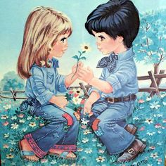 Vintage Big Eyed Girl Paintings | Vintage Big Eye Art Wall Hanging - Boy and Girl Sweethearts Framed ...