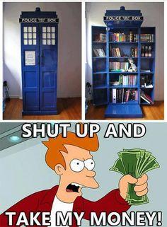 A TARDIS bookshelf?! GIMME! #DoctorWho