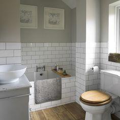 Armchair u shaped kitchen designs small bathroom update ideas twin size traditional bathroom pictures ideal Metro Tiles Bathroom, Wood Floor Bathroom, Bathroom Flooring, Small Bathroom, 1930s Bathroom, Classic Bathroom, Room Tiles, Tile On Bathroom Wall, Grey Grout Bathroom