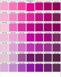 Nuancier PANTONE rose/violet