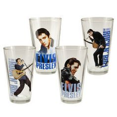 Pour a proper pint with this Elvis Presley 4 pc. 16 oz. Glass Set and raise one to Elvis Presley with these action shots of the rockabilly star from Tupelo
