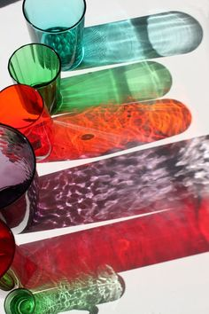 An example of the nice reflections coloured glass can make on plain white surfaces