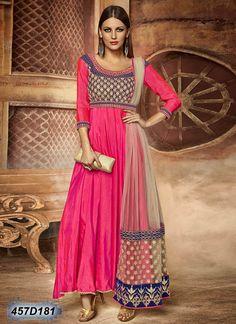 Designer Pink Coloured Silk Semi stitched Anarkali salwar suit