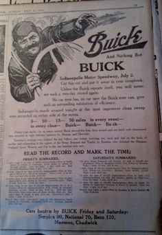 JULY 3, 1910 NEWSPAPER PAGE #4598- BUICK, INDIANAPOLIS MOTOR SPEEDWAY RECORDS