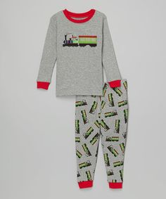 Another great find on #zulily! Gray Train Pajama Set - Infant & Toddler #zulilyfinds