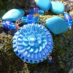 Turquoise Blue Polymer Clay Lotus Flower Necklace purplecactusstudios