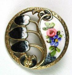 Antique Pierced Enamel Button Colorful Art Nouveau Floral Design - Gorgeous!