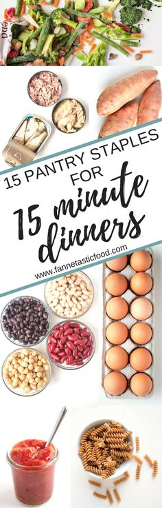 Always in a rush to get dinner on the table? 15 minute dinners are SO easy when you have a well-stocked pantry! Here are my top 15 pantry staples to always have on hand so you can make super quick dinners any night of the week. Check out the post for some of my favorite easy dinner ideas to make from these pantry staples, too! | quick dinner ideas | healthy dinner ideas | fast easy dinner recipes | healthy pantry staples |