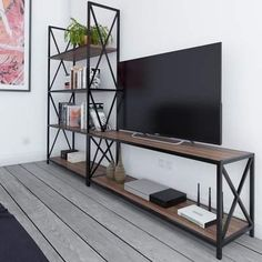 Williston Forge Altom X-Frame Metal Industrial Entertainment Center for TVs up to 60 Williston Forge Decor, Industrial Entertainment Center, Shelves, Entertainment Center Furniture, Room, Interior, Living Room, Home Decor, Furniture