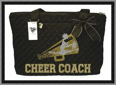Hey, I found this really awesome Etsy listing at http://www.etsy.com/listing/156770408/cheer-coach-rhinestone-tote-bag-2-sizes